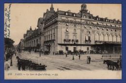 75 PARIS Gare Du Quai D'Orsay ; Chevaux, Calèches - Animée - Gares - Sans Trains