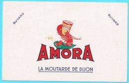 BUVARD BUVARDS Algerie Algeria France Publicité Pub AMORA Moutarde Dijon Mustard Crevette Shrimp Gobelet Cup - Alimentos