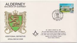 Freemasonry, ST Ann´s Lodge # 593, Masonic FDC, Alderney - Franc-Maçonnerie