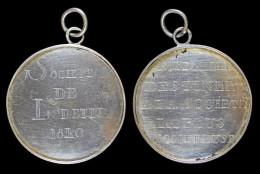 """AG00064 Société De Lorette 1840 Et """"... à La Société La Plus Nombreuse"""", Argent, (10 G.) - Belgium"""