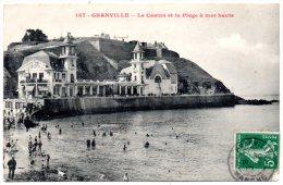 CP, 50, GRANVILLE, Le Casino Et La Plage à Mer Haute, Voyagé - Granville