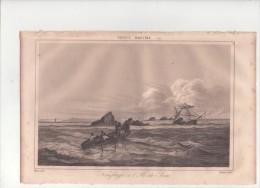 """Ile De Sein, Naufrage, Gravure Hors Texte  Extraite De """" France Maritime """", T. 3, 1837 - Old Paper"""