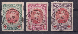 COB 132-133-134 Obl Croix-Rouge Albert I- Etat Impeccable - Voir Image - 1914-1915 Red Cross