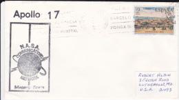1972 - APOLLO 17 - ENVELOPPE De La NASA ANTENNE De MADRID (ESPAGNE) Pour LUTHERVILLE (USA) - Lettres & Documents