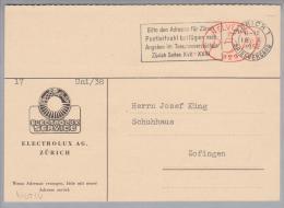 Motiv Haushalt 1952-10-18 ZH Elektrolux Service Freistempel 5Rp. #829 - Timbres