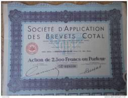 92 NEUILLY Ste D´Application Des Brevets COTAL ACTION DE 2500 FF Au Porteur + Ses 30 Coupons Attachés - Automobile