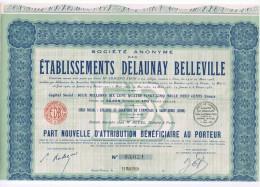 AUTOMOBILES DELAUNAY BELLEVILLE PART BENEFICIAIRE AU PORTEUR 1939 Excellent Etat - Automobile