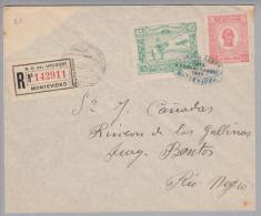 Uruguay 1925-09-25 Montevideo Luftpost-R-Brief Nach Rio Negro - Uruguay