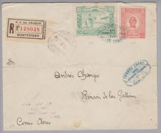 Uruguay 1925-09-26 Montevideo Flugpost-R-Brief Nach Rincon De Las Gallinos (Bug) - Uruguay