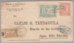 Uruguay 1925-09-23 Montevideo Luftpost-R-Brief Nach Rincon - Uruguay