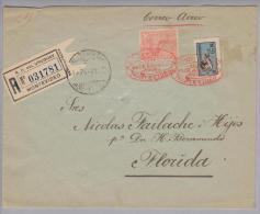 Uruguay 1925-08-24 Montevideo Luftpost-R-Brief Nach Florida USA - Uruguay
