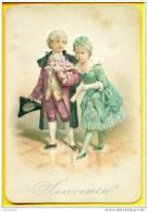 """Couple De Marquis, Marquise Avec Bouquet De Fleurs; """"Souvenir"""" ! - Gaufrée ! - Enfants"""