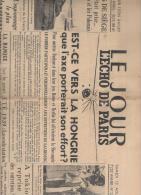 Le Jour L'écho De Paris 12 Août 1939  édition De 5 Heures - Giornali