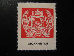AFGHANISTAN Coat Of Arm Coats Of Arms Flag Flags 1950s Era Poster Stamp Label Vignette Viñeta Cinderella - Afghanistan