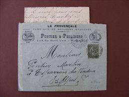 Lettre En-tête Illustrée + Enveloppe Marseille (13) 1905 - Pontier & Philibert Boissons Gazeuses Médailles - Food