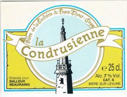 Ongebruikt Etiket  La Condrusienne  Brij. Lefbvre, Quenast. Bière De La Confrérie Du Franc Thour - Ciney - Birra