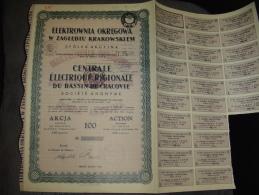"""Action""""Centrale Electrique Régionale Du Bassin De Cracovie""""Siersza Wodna 1935 Bon état Reste Des Coupons - Russia"""