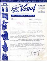 CONSTRUCTION ET AGENCES DE MACINES-OUTILS.GASTON & HENRI VENOT.153 RUE DU TEMPLE. - Unclassified