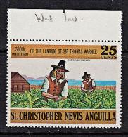 C0339 ST CHRISTOPHER, NEVIS, ANGUILLA 1973, SG 259w Anniv Landing On St Christopher, Inverted Watermark - St.Kitts And Nevis ( 1983-...)