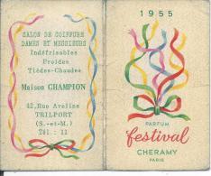 PARFUM FESTIVAL - CHERAMY Paris + Calendrier 1955 à L'intérieur -  (dimension Ouverte 10.5 X 8.5 Cm) - Calendriers