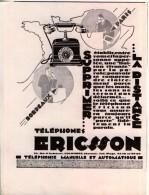 Pub.1929   ERICSSON  Appareil  Téléphone  Manuel Et  Automatique  TBE - Publicités