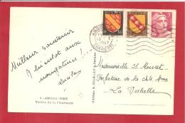 N°Y&T 716+756+757 CAD FLIER ANGOULEME  Vers  LA ROCHELLE Le  13 JANVIER1947 (2 SCANS) - France