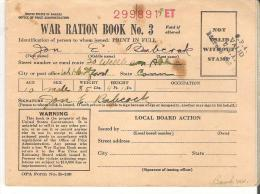 Booklet  War Ration Book No. 3 Jon E. Babcock, West Hartford Connecticut  Office Of Price Administration 299891 ET - Books, Magazines, Comics