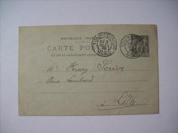 Entier Postal 89-CP5 - Type Sage 10c Noir Sur Vert - TOURCOING Pour Lille - 1898 - Postales Tipos Y (antes De 1995)