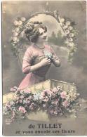 TILLET-DE TILLET JE VOUS ENVOIE CES FLEURS-CARTE ENVOYEE 1912-VOIR 2 SCANS - Sainte-Ode