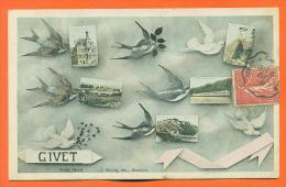 "Dpt 08  Givet  ""  Carte Multivues  "" Hirondelles - Colombes - Givet"