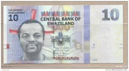 Swaziland - Banconota Non Circolata Da 10 Emalangeni - 2010 - Swaziland