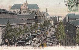 PARIS 1er Belle CPA Colorisée  HALLES Centrales Pavillons  ATTELAGES  Vue Sur EGLISE St Eustache 1907 - District 01