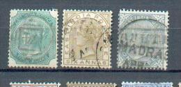 A 23 - Inde - YT  27-30-32 Obli - 1882-1901 Imperium