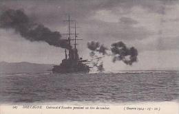 France Bretagne Cuirasse D'Escadre Pendant Ses Tirs De Combat - Bretagne