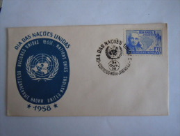 Brazilie Bresil Brasilien Brasil 1958 FDC Jour Des Nations Unies Timbre De La Visite Du Président Truman Yv 456 - FDC