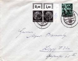 DEUTSCHES REICH 1938 - 3 Fach Frankiert, 2 Marken Mit Randstücken Auf Brief, 2 Sonderstempel Leipzig - Libanon