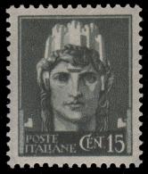 Italia - 15 C. Verde Grigio - Emissione Di Novara (senza Filigrana Con Fasci) - 1945 - Neufs