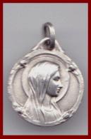 Médaille Religieuse Ancienne ND Notre Dame De Lourdes Très Fine Argent Catholique Etat TTB - Religion & Esotérisme