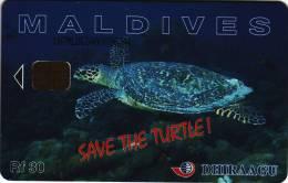"""***Télécarte à Puce Des Maldives """"Save Turtle""""  Rf 30Unités  Vide  TB  A Saisir ***N° 187MLDGIAOO96744 - Maldives"""