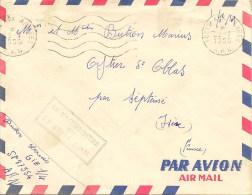 Lettre Poste Aérienne En FM De La Poste Aux Armées En AFN Cachet Du Vaguemetre (oblitération Du 28/07/59) - Storia Postale