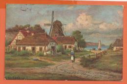 X068, Fantaisie, Moulin, Mühle, Mill, Chaumière, Paysanne,  Circulée 1910 - Phantasie
