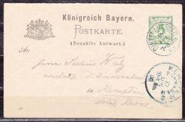 P 46/05 Ziffer Antwortteil, Dietmansried Nach Kempten, AK-Stempel 1900 (42277) - Bayern