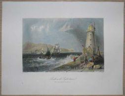 1842 Bartlett Print SOUTHWALL LIGHTHOUSE, DUBLIN, IRELAND (#36) - Estampes & Gravures