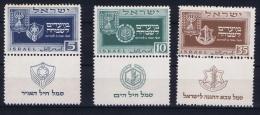 ISRAEL: 1952, Mi 19-21, Tab MNH/** - Israël