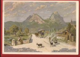 Ch553 Paul Robinet, Les Deux Mythen, Ziegen, Chèvres. Calèches, Kutsche,  Gelaufen. - SZ Schwyz