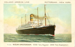 AK S.D. T.S.S. Nieuw-Amsterdam Ca. 1925 (?) Schiff Dampfer Holland-Amerika-Linie - Paquebots