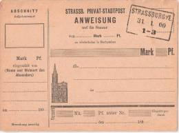 Privat Stadtpost Strassburg Geld Anweisung 31.1.1900 Elsass Strasbourg Alsace - Poste Privée