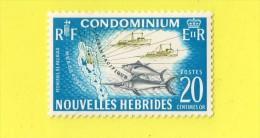 NOUVELLES - HEBRIDES ,,, ** 20 Centimes Or ** ,, PECHE ,, 1963 ,,, NEUF SANS TRACE DE CHARNIERE - New Hebrides
