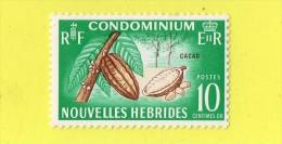 NOUVELLES - HEBRIDES ,,, **  10 CENTIMES OR ** ,,  CACAO. ,,, NEUF SANS TRACE DE CHARNIERE - Collections, Lots & Séries