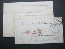 1849, LANDBOTE, Brief Aus HADMERSLEBEN Nach Hannover , Mit Inhalt - Hanover